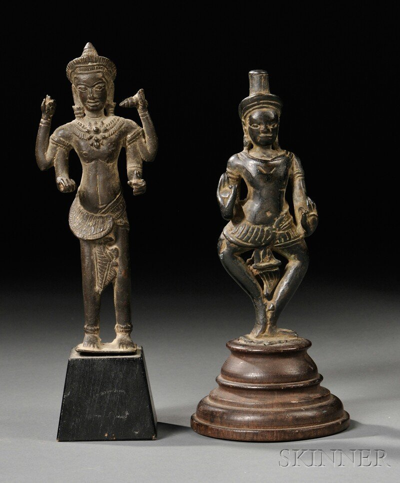 18: Two Khmer Bronzes, Cambodia, standing deities, with