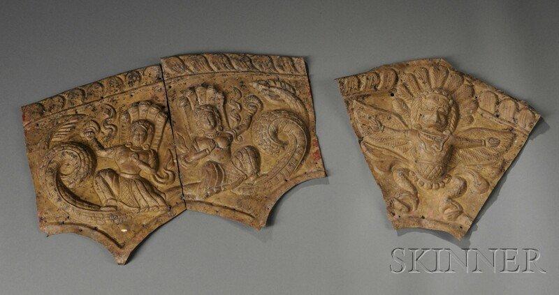 19: Repousse Metal Toran, Nepal, in three parts, depict
