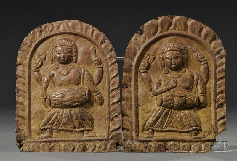 21: Pair of Repousse Plaques, Nepal, 18th/19th century,
