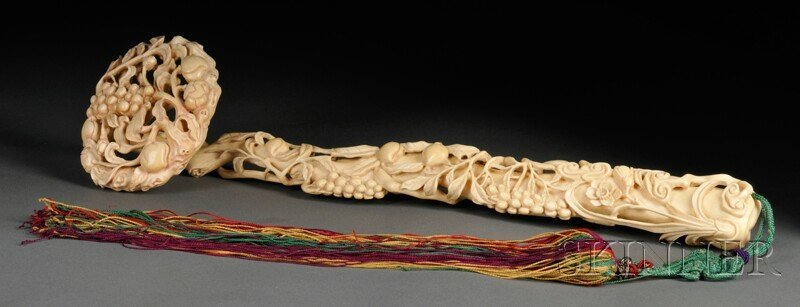 368: Ivory Ruyi Scepter, China, carved with scrolling p