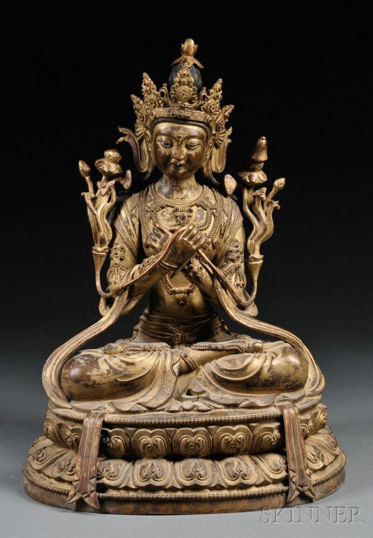 477: Gilt-bronze Figure of Maitreya, Sino-Tibet, depict