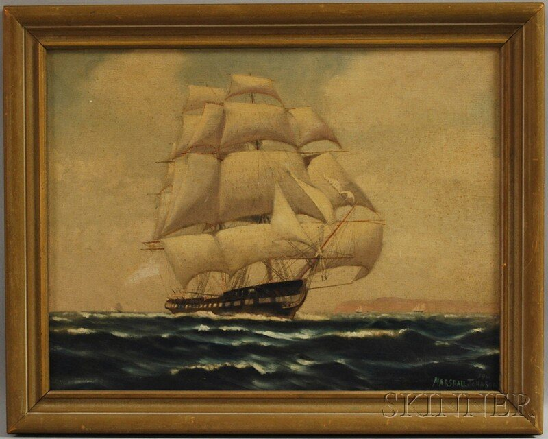 14: American School, 20th Century Ship in Full Sail. In