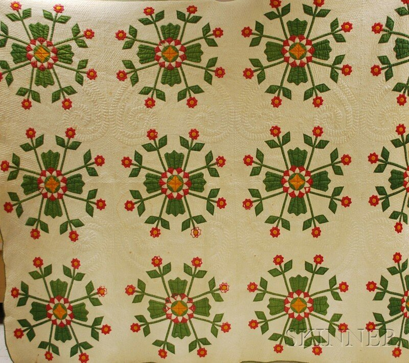 504: Hand-stitched Cotton Appliqued Quilt, green, red,