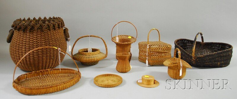 506: Nine Assorted Woven Basketry Items, including spli