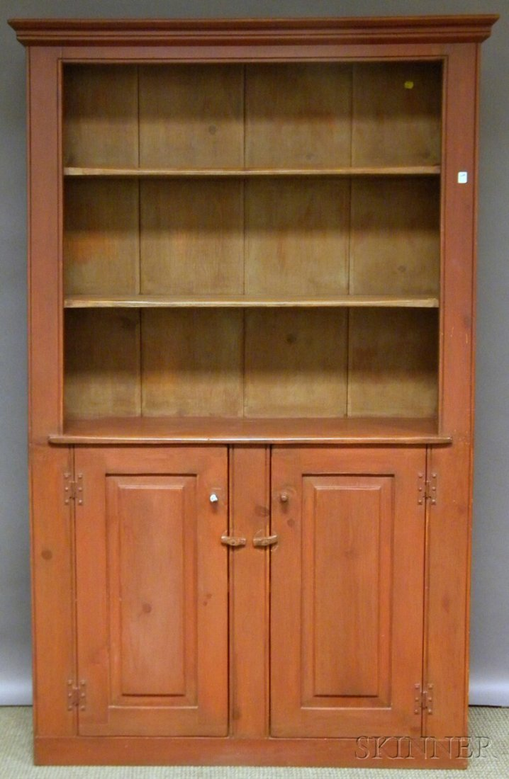 513: Country Red-painted Pine Slant-back Cupboard, late