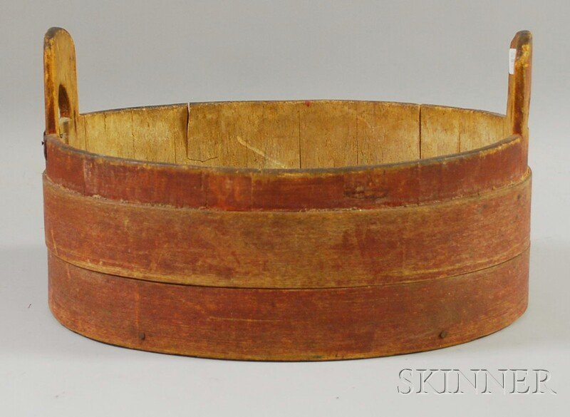 516: Red-painted Oval Wood Stave Tub with Finger-lap Si