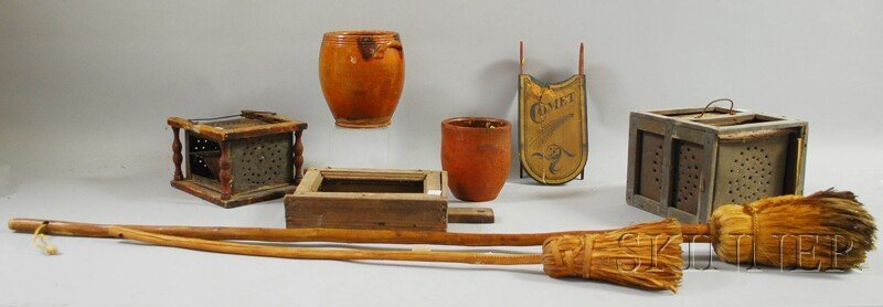 519: Eight Assorted Redware and Wooden Country Items, t