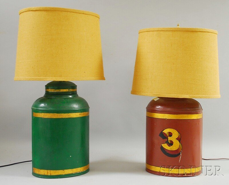 521: Pair of Paint-decorated Tin Canister/Table Lamps.