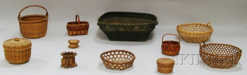 524: Eleven Woven Basketry Items, America, late 19th/ea