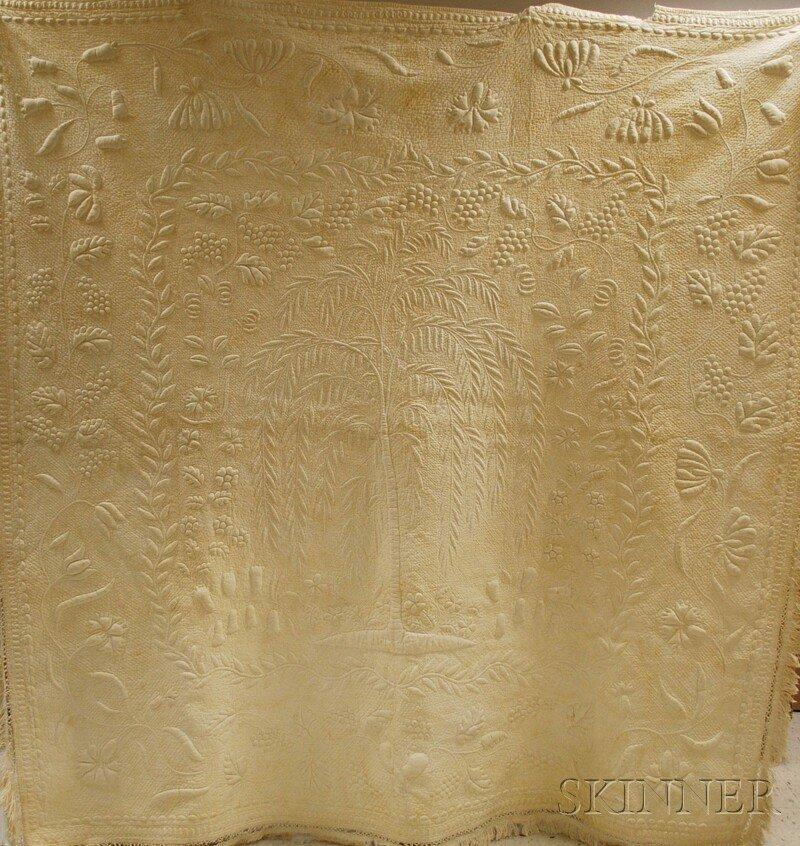 667: Hand-stitched Trapunto Whitework Cotton Quilt, wit