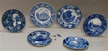 734: Six Blue Transfer-decorated Staffordshire Pottery