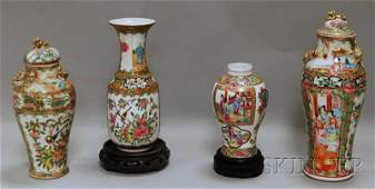 983 Four Chinese Export Rose Medallion Pattern Porcela
