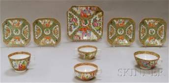984: Nine Chinese Export Rose Medallion Pattern Porcela