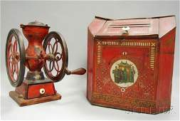 1342: Enterprise Mfg. No. 2 Painted Cast Iron Coffee Mi