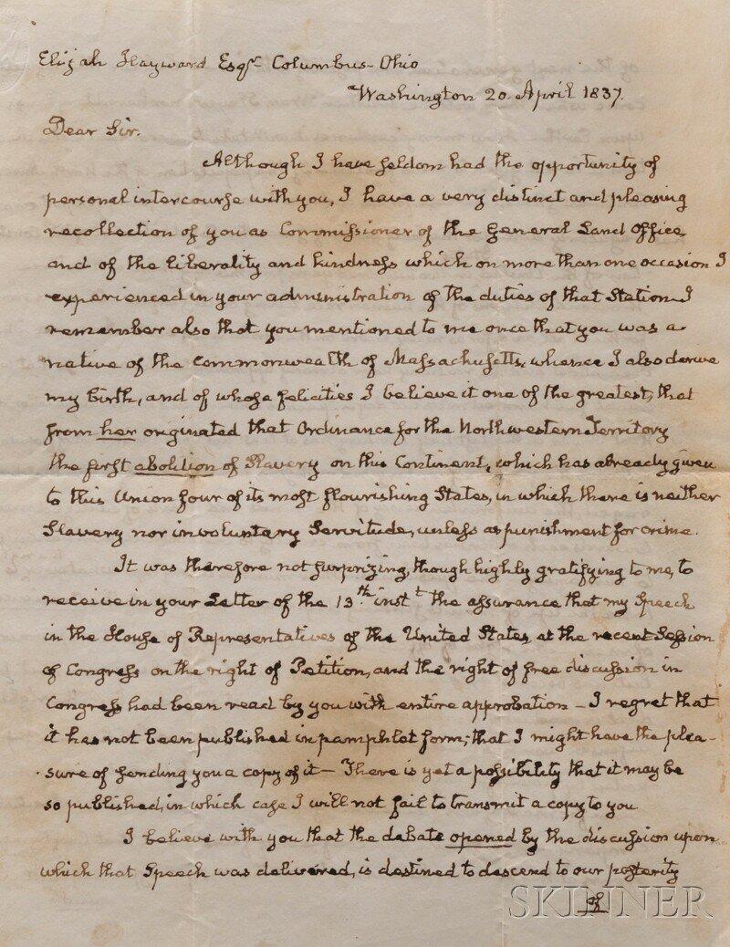 1: Adams, John Quincy (1767-1848) Autograph Letter Sign