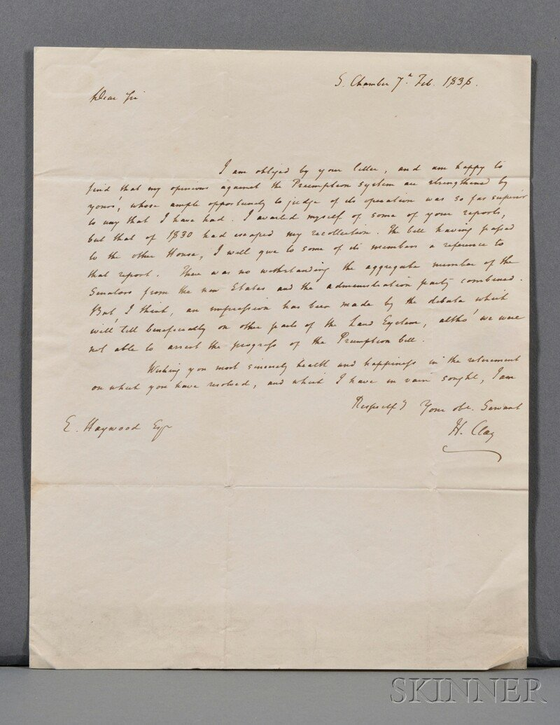 22: Clay, Henry (1777-1852) Autograph Letter Signed, 7