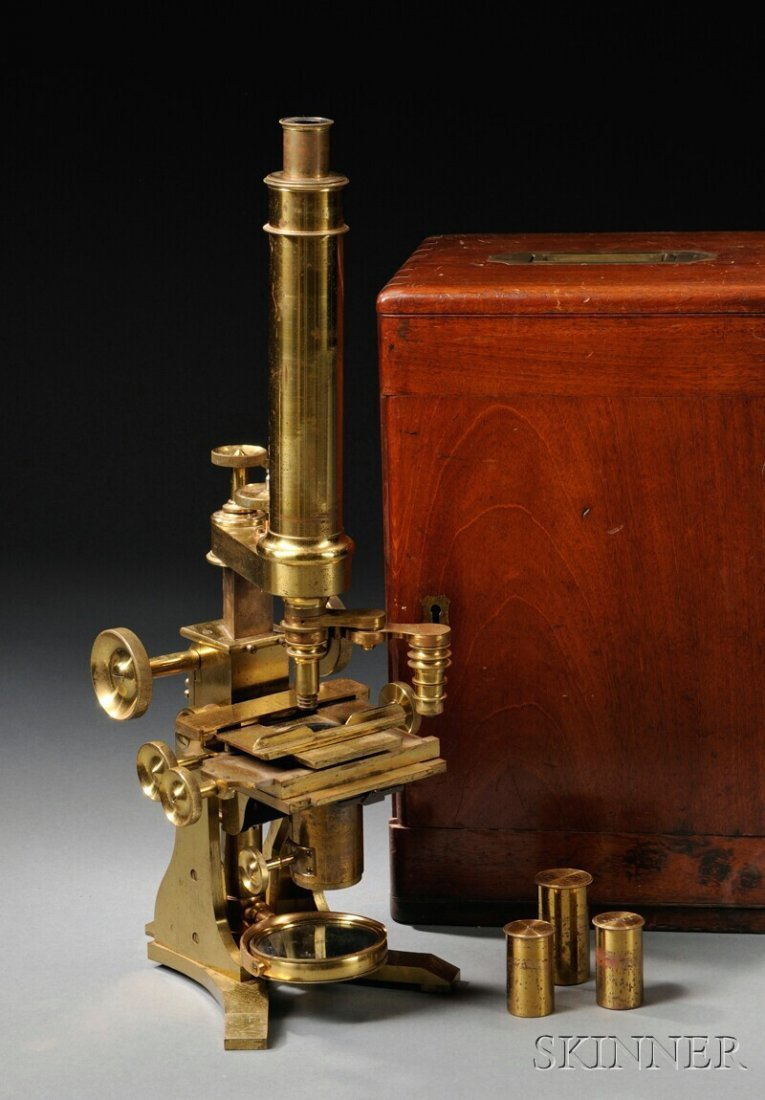 5: Brass Microscope by Baker, London, c. 1850, lacquere