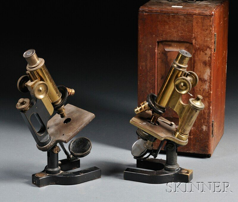 12: Two Bausch & Lomb Brass Microscopes, Rochester, New