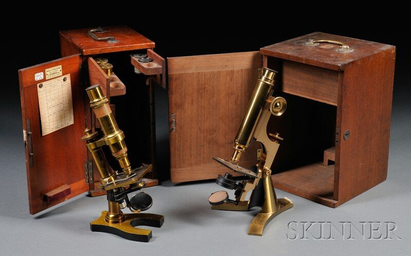 18: Two Brass Microscopes, a J. Dujardin, Paris, with d
