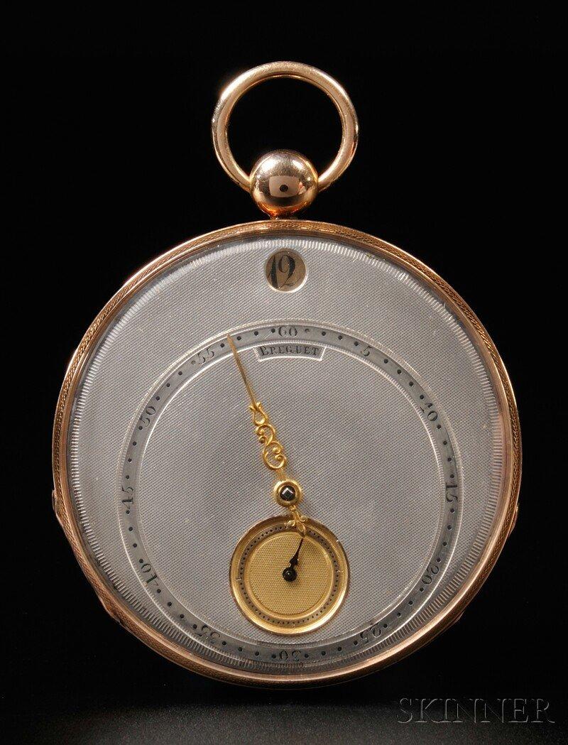 334: 18kt Gold Jump Hour Watch by Breguet, silver engin