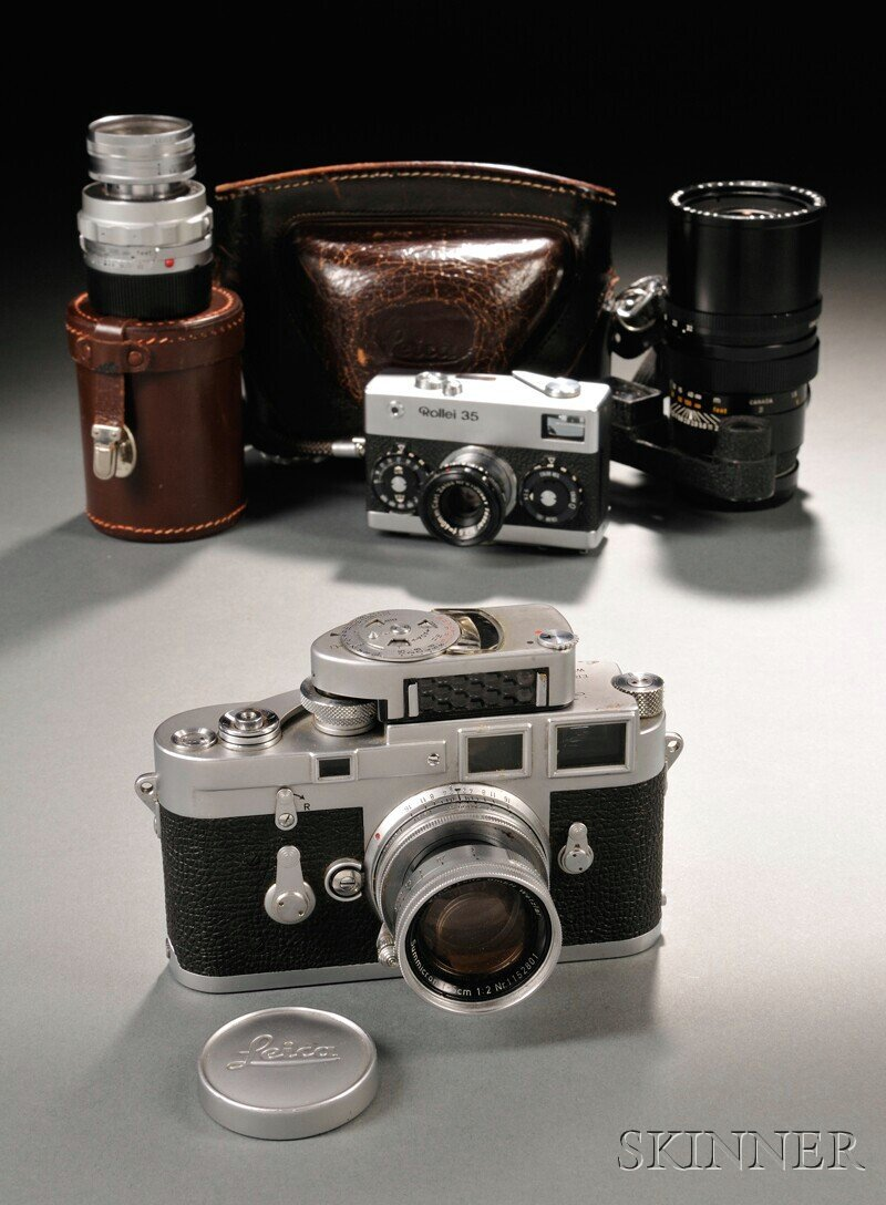 618: Leica M3 Camera Body, Three Lenses, and a Rollei 3