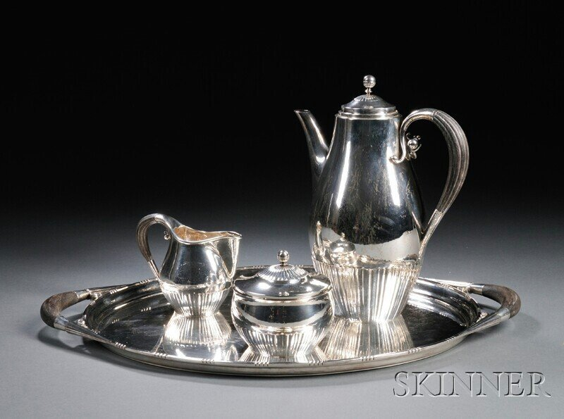 6: , Georg Jensen Coffee Set and Tray, Sterling silver