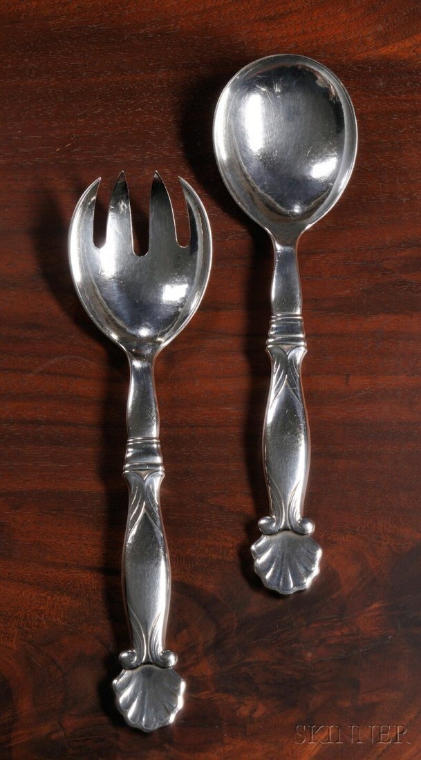 10: , Georg Jensen Serving Fork and Spoon No. 102, Ster
