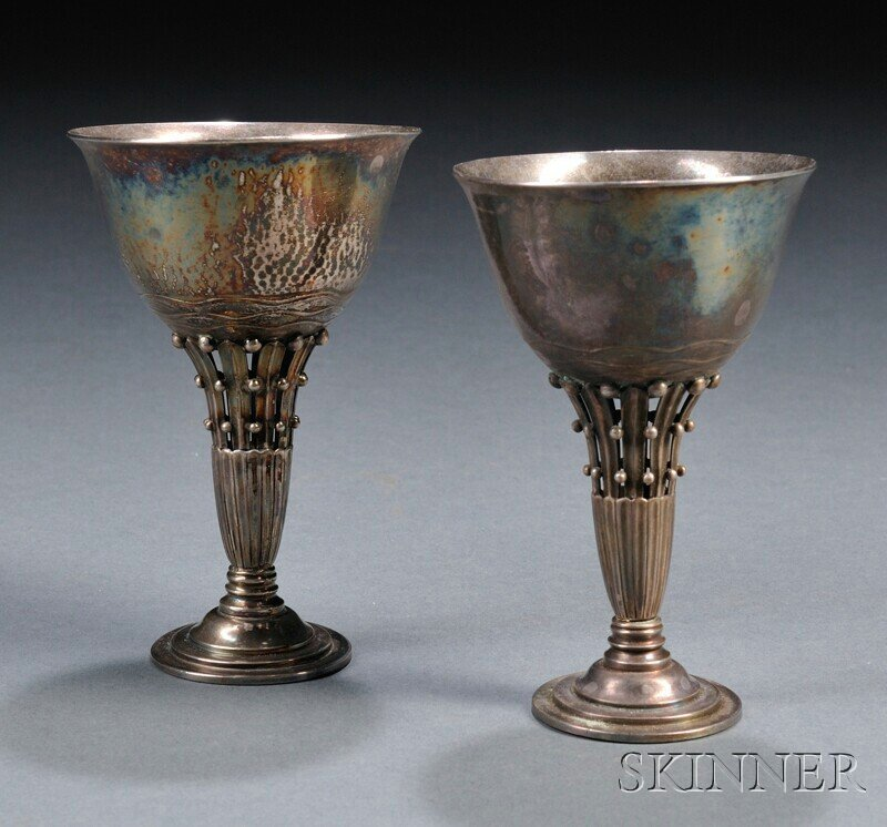 12: , Two Pieces of Georg Jensen Stemware, Sterling sil