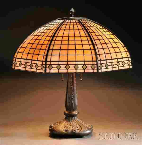 , Handel Mosaic Glass Table Lamp, Slag glass and p