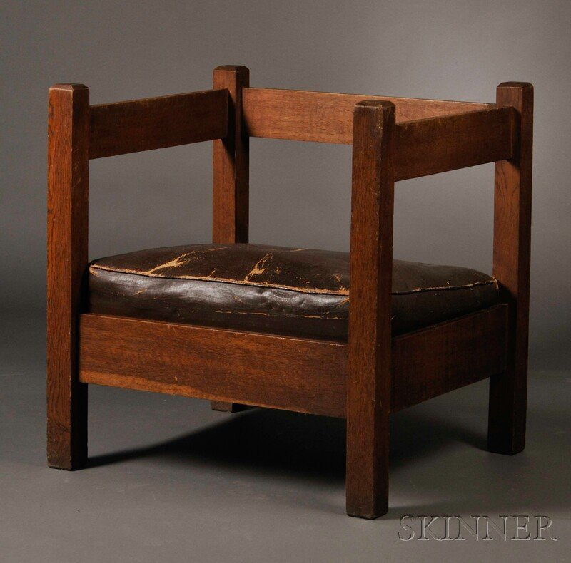 312: , J.M. Young & Sons Arts & Crafts Cube Chair, Oak,