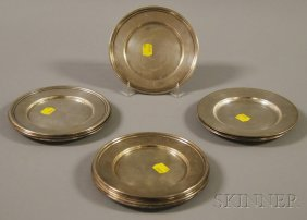 Sixteen Sterling Silver Bread Plates, A Set Of Twelv