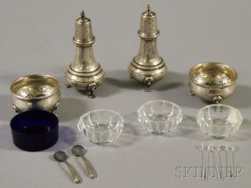 10: Set of Four Sterling Silver Salts, a pair of unmark