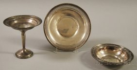 24: Three Sterling Silver Tableware Articles, a weighte