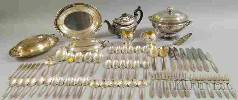 98: Group of Silver-plated Flatware and Serving Items,