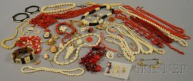 172: Group of Mostly Coral and Ivory Jewelry, including
