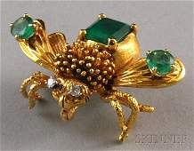 207 18kt Gold Emerald and Diamond Bug Brooch the wi