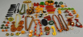 215: Group of Mostly Bakelite and Celluloid Jewelry, in