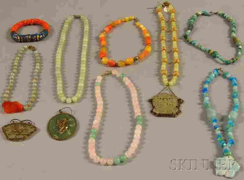 280: Small Group of Mostly Asian Hardstone Jewelry, inc