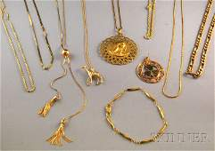 297: Assorted Group of Mostly Gold Jewelry, a 9kt gold