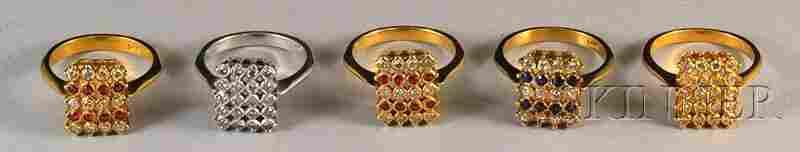 357: Five Similar 14kt Gold Gem-set Rings, four yellow