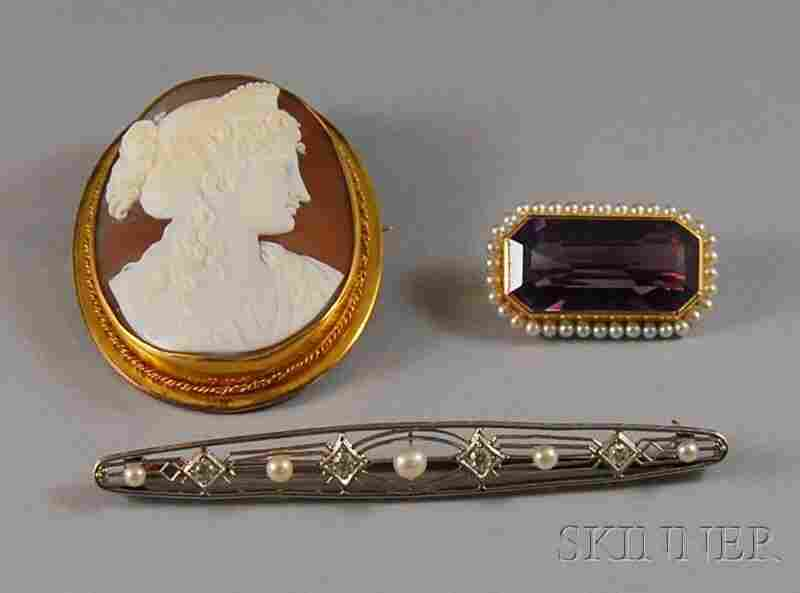 426: Three Assorted Pins, a 14kt gold-framed shell-carv