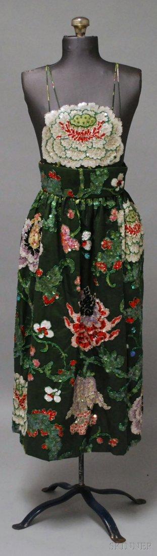 763: Michael Novarese Apron-style Evening Dress, bib-fr