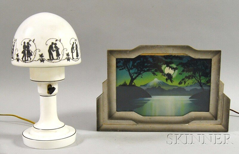 801: Art Deco Painted Black Silhouette-decorated White