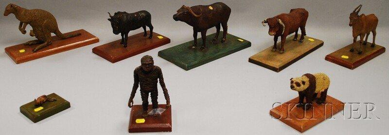 803: Eight U.S. WPA Painted Modeled Wax Figures of Vari