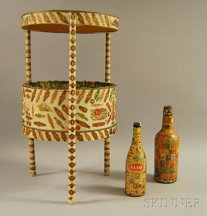 807: Folk Art Cigar Band-decorated Sewing Stand and Two