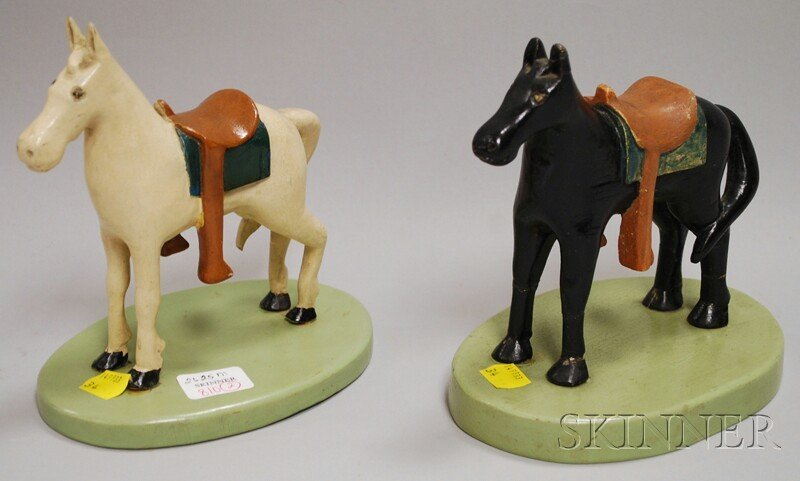 810: Pair of Folk Art Carved and Painted Wooden Saddled