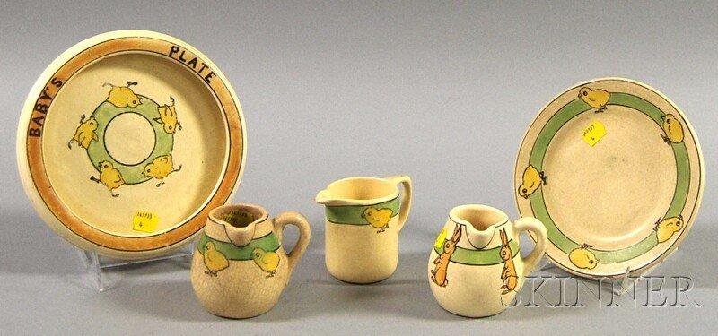815: Five Pieces of Roseville Pottery Juvenile Tablewar