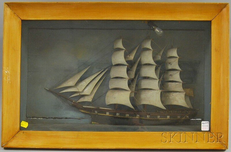 817: Carved and Painted Sailing Ship Diorama, the three