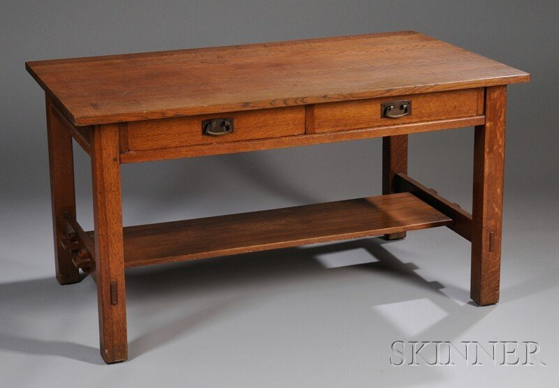 820: L. & J.G. Stickley Arts & Crafts Oak Two-drawer Li