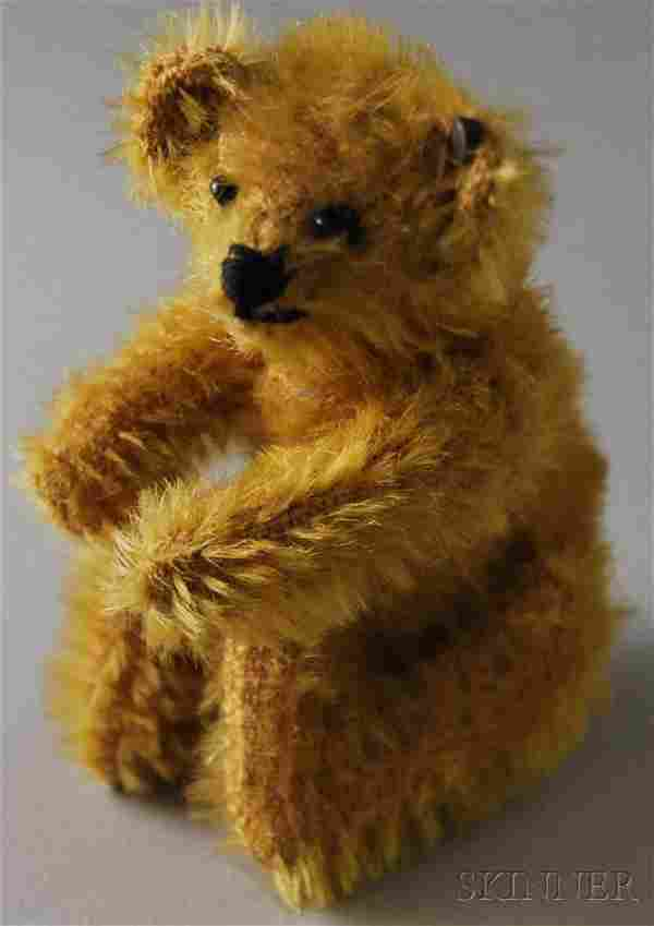 Early Small Jointed Golden Mohair Steiff Teddy Be
